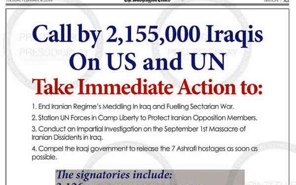 The Washington post- call by 2155000 Iraqis on US and UN