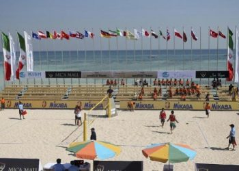 This picture made available by Tasnim News Agency and taken on Monday, Feb. 15, 2016, shows a volleyball match between Iran and Turkey during Beach Volleyball World Tour in the Iranian Kish island in the Gulf. (AP)