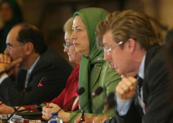 Maryam Rajavi in the EU Parliament, Brussels, giving speech on the Iranian elections