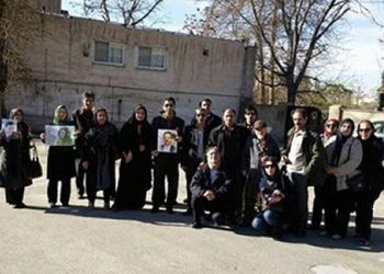 Family members of political prisoners gathering in front of Tehran's Evin Prison