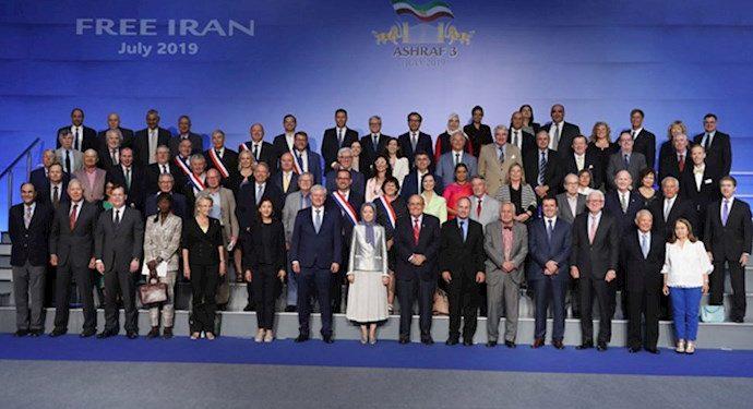 Prominent international dignitaries joining Iranian opposition President Maryam Rajavi at a conference in Ashraf 3 - Tirana, Albania - July 12, 2019